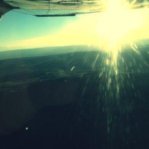 Flight over Switzerland Sunset
